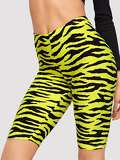 Neon Yellow Zebra Leggings Shorts