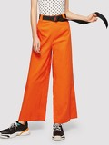 Buckle Belt Wide Leg Neon Pants