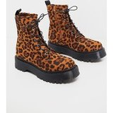 Chunky Leopard Print Sole Lace Up Ankle Boot