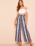 Paperbag Waist Wide Leg Self Belted Geo Pants
