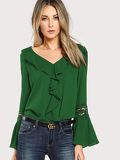 Ruffle Neck Lace Insert Pleated Cuff Top