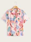 Tropical Print Notched Neck Blouse