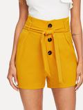 Button Fly Tailored Shorts With Belt