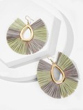 Color-block Lafite Hoop Drop Earrings 1pair