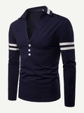 Men Varsity Striped V Neck Polo Shirt