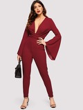 Plunge Neck Cross Wrap Bell Sleeve Fitted jumpsuit