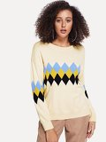 Argyle Print Sweater