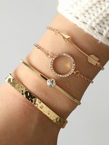 Arrow & Circle Bracelet Set 4pcs