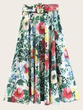 Self Tie Floral Print Skirt
