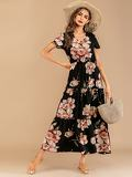 V-neck Floral Print Ruffle Hem Dress