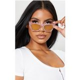Pink Marble Effect Angled Gold Frame Sunglasses