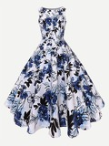Deep V Neckline Floral Print Dress