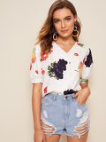 Fruit Print Button Front Puff Sleeve Blouse