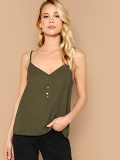 V Neck Button Front Solid Cami Top