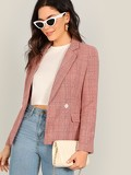 Notch Collar Split Back Plaid Blazer