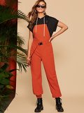 Waist Belted Pinafore Tapered Jumpsuit