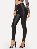Button Front Skinny Jeans