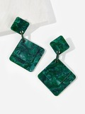 Double Square Drop Earrings 1pair