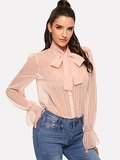 Tie Neck Smocked Cuff Blouse Bodysuit