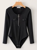 Dual Pocket Half Zip Bodysuit