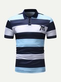 Men Striped And Letter Print Polo Shirt