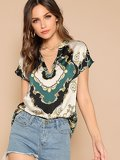 Curved Hem Scarf Print V Neck Top