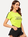 Neon Yellow Striped Tape Side Letter Tee
