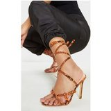 Orange Snake Cage Strappy Sandal