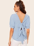 V-neck Puff Sleeve Tie Back Blouse