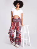 Mixed Print Wide Leg Pants