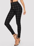 Grid Print Button Fly Skinny Jeans