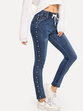 Pearl Beaded Drawstring Waist Jeans