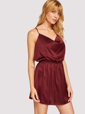 Crisscross Back Satin Cami Dress