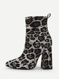 Leopard Print Point Toe Ankle Boots