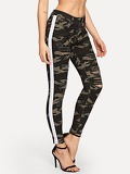 Camouflage Pattern Ripped Jeans