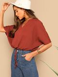 Knot Front V-neck Solid Top