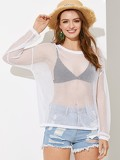 Drop Shoulder Sheer Solid Sweater Without Bra