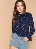 Keyhole Neck Allover Heart Print Top