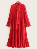 Tie Neck Flounce Sleeve Tiered Dress