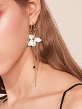 Flower & Bar Decor Hoop Drop Earrings 1pair