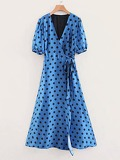 Self Tie Polka Dot Wrap Dress