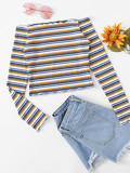 Frill Trim Striped Knit Tee