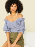Crop Buttoned Ruffle Trim Striped Top