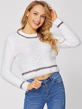 Contrast Panel Crop Fuzzy Jumper