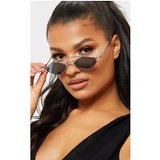 Black Lens Silver Frame Diamond Shape Retro Sunglasses