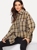 Single-breasted Plaid Blouse