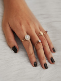 Rhinestone Leaf Design Ring Set 5pcs