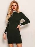 Joyfunear Mock-neck Striped Trim Pencil Dress