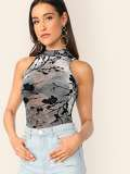 Mock Neck Flower Blossom Print Mesh Top