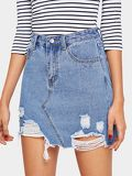 Bleach Wash Distressed Denim Skirt